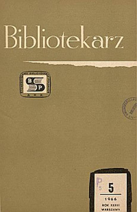 Okładka Bibliotekarz 1966, nr 5