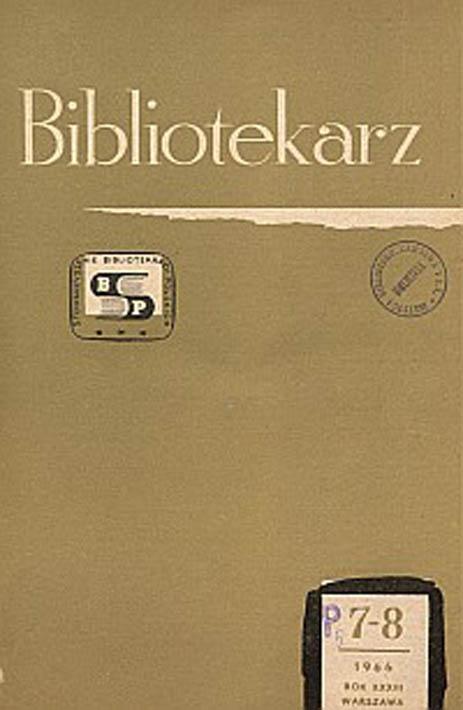 Okładka Bibliotekarz 1966, nr 7-8