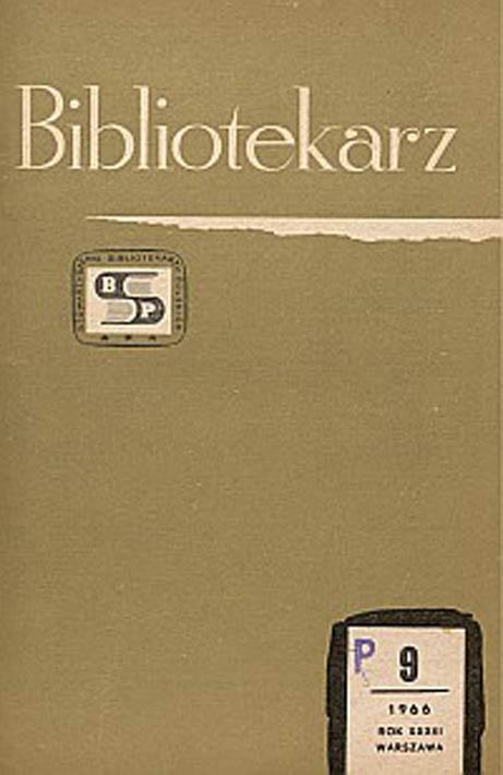 Okładka Bibliotekarz 1966, nr 9