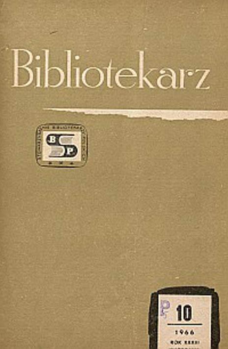 Okładka Bibliotekarz 1966, nr 10