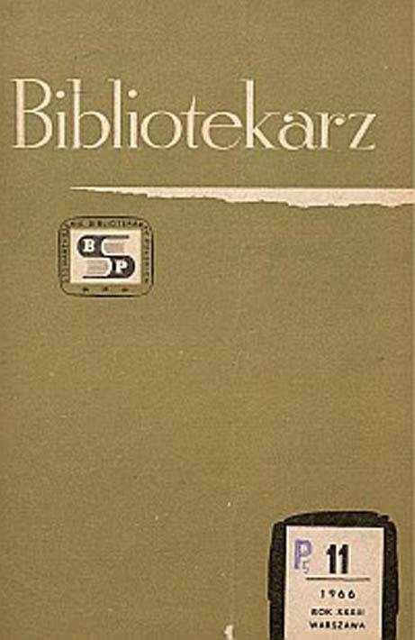 Okładka Bibliotekarz 1966, nr 11