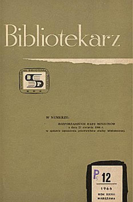 Okładka Bibliotekarz 1966, nr 12