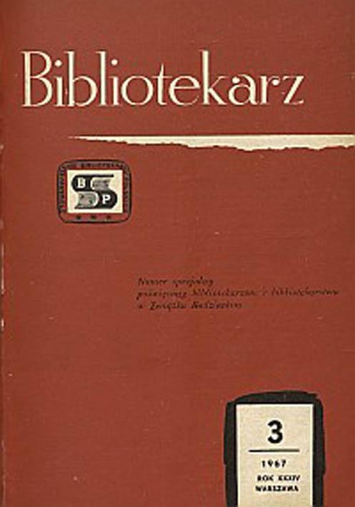 Okładka Bibliotekarz 1967, nr 3
