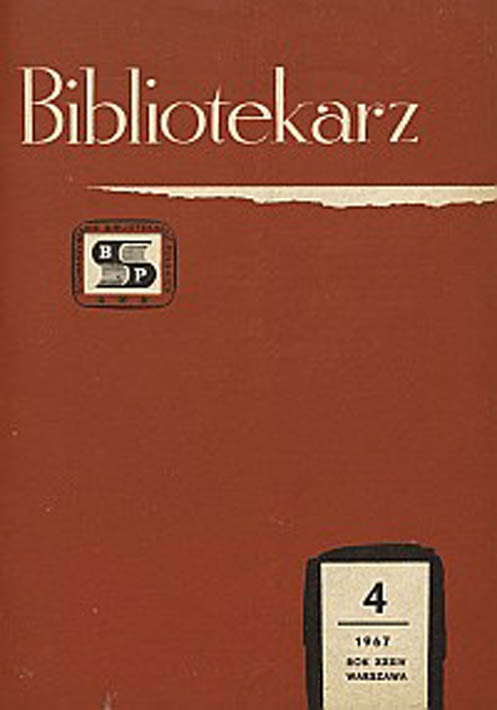 Okładka Bibliotekarz 1967, nr 4