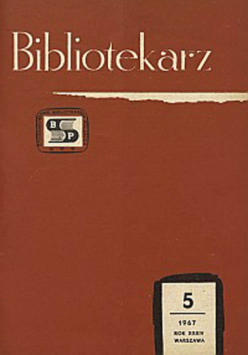 Okładka Bibliotekarz 1967, nr 5