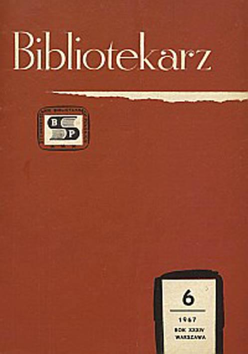 Okładka Bibliotekarz 1967, nr 6
