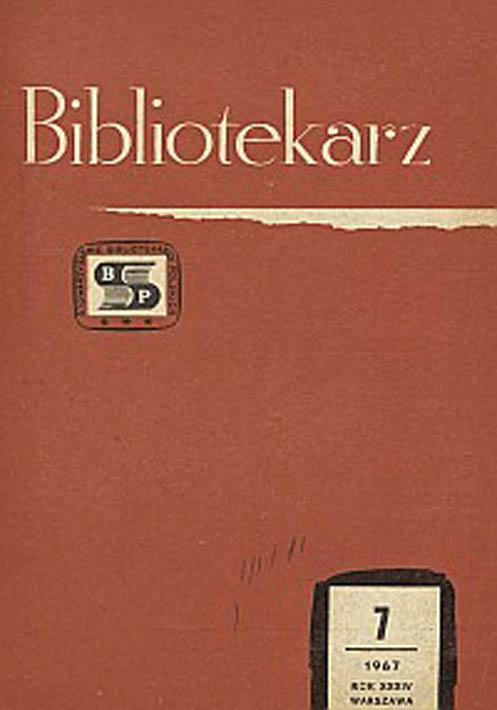 Okładka Bibliotekarz 1967, nr 7