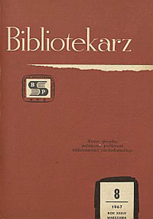 Okładka Bibliotekarz 1967, nr 8