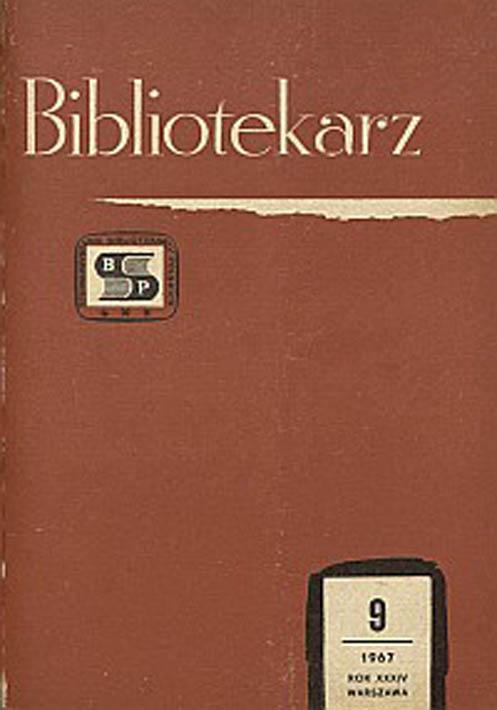 Okładka Bibliotekarz 1967, nr 9