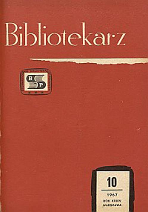 Okładka Bibliotekarz 1967, nr 10