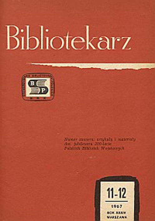 Okładka Bibliotekarz 1967, nr 11-12