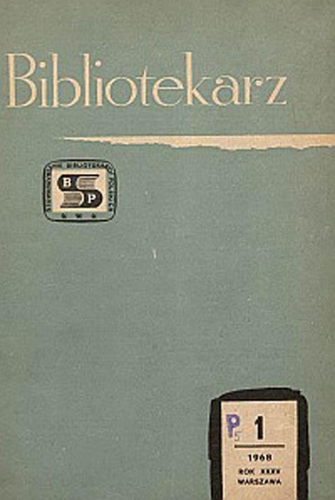 Okładka Bibliotekarz 1968, nr 1
