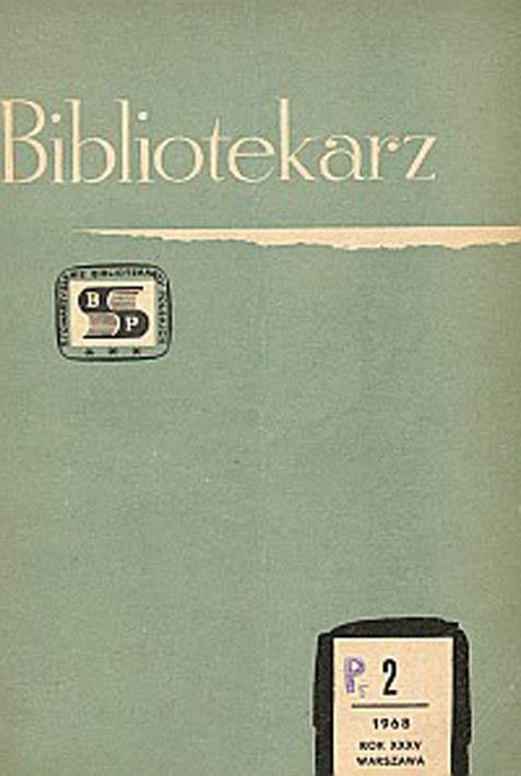 Okładka Bibliotekarz 1968, nr 2