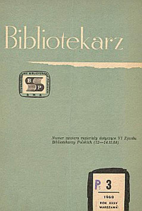 Okładka Bibliotekarz 1968, nr 3