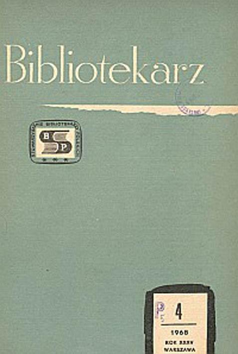 Okładka Bibliotekarz 1968, nr 4