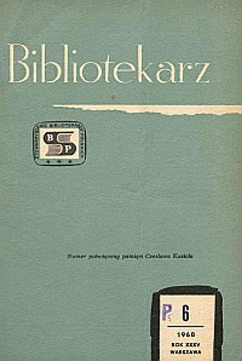 Okładka Bibliotekarz 1968, nr 6