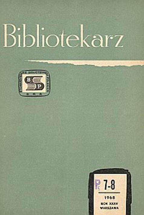 Okładka Bibliotekarz 1968, nr 7-8