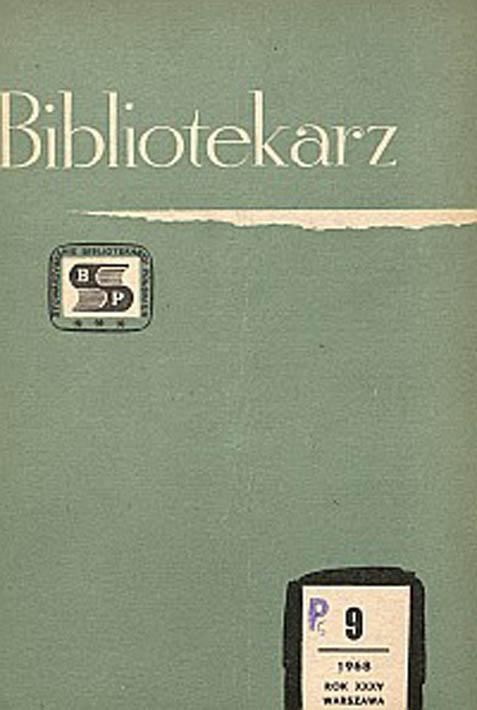 Okładka Bibliotekarz 1968, nr 9