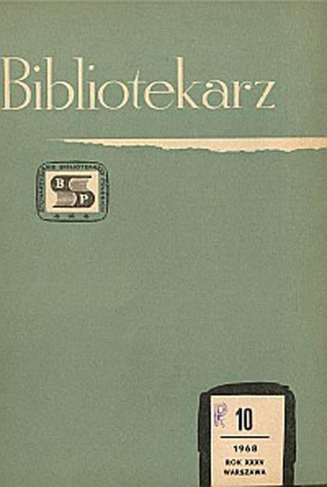 Okładka Bibliotekarz 1968, nr 10