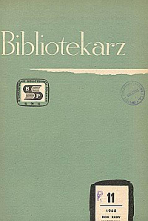 Okładka Bibliotekarz 1968, nr 11