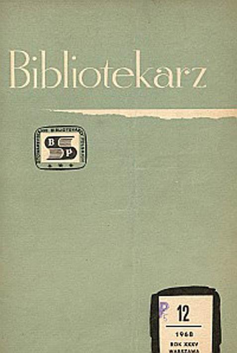 Okładka Bibliotekarz 1968, nr 12
