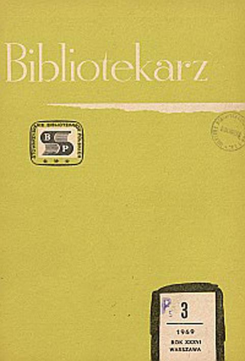 Okładka Bibliotekarz 1969, nr 3