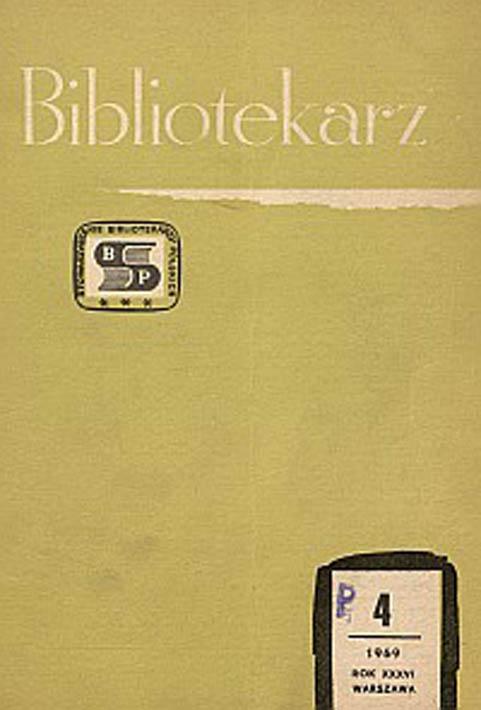 Okładka Bibliotekarz 1969, nr 4