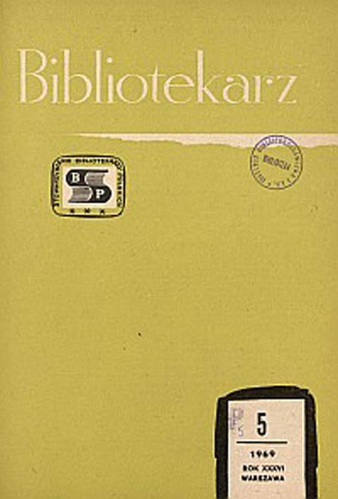 Okładka Bibliotekarz 1969, nr 5
