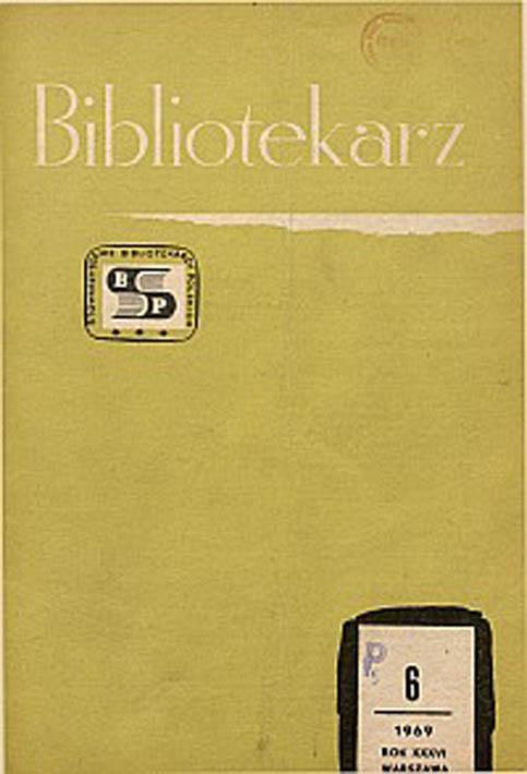 Okładka Bibliotekarz 1969, nr 6