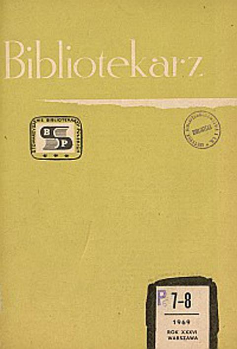 Okładka Bibliotekarz 1969, nr 7-8