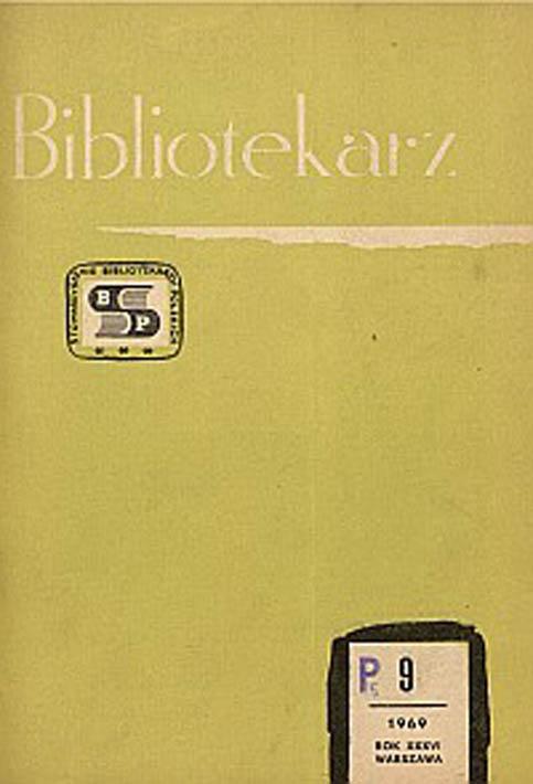 Okładka Bibliotekarz 1969, nr 9