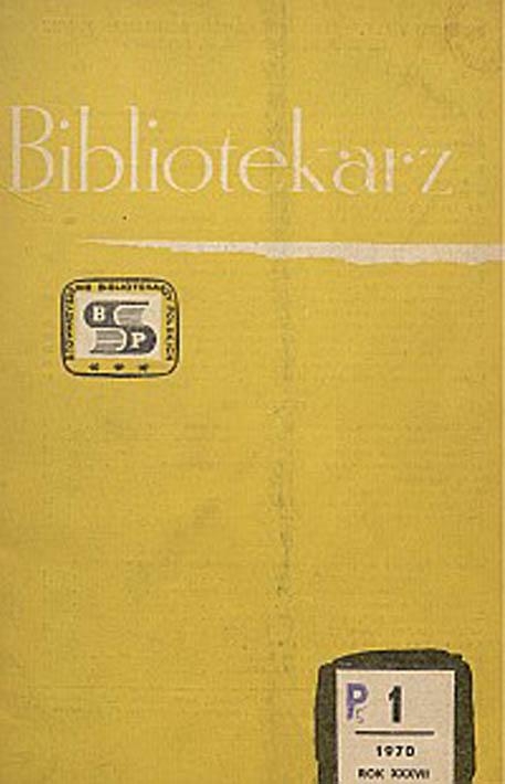 Okładka Bibliotekarz 1970, nr 1