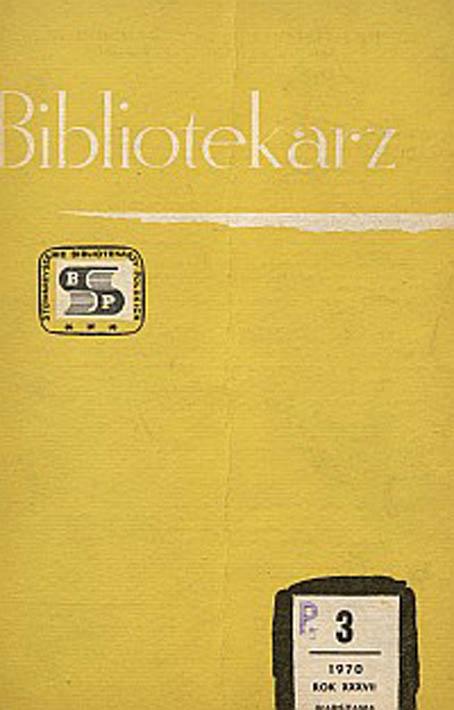 Okładka Bibliotekarz 1970, nr 3