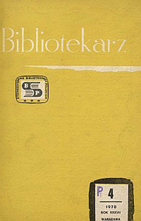 Okładka Bibliotekarz 1970, nr 4