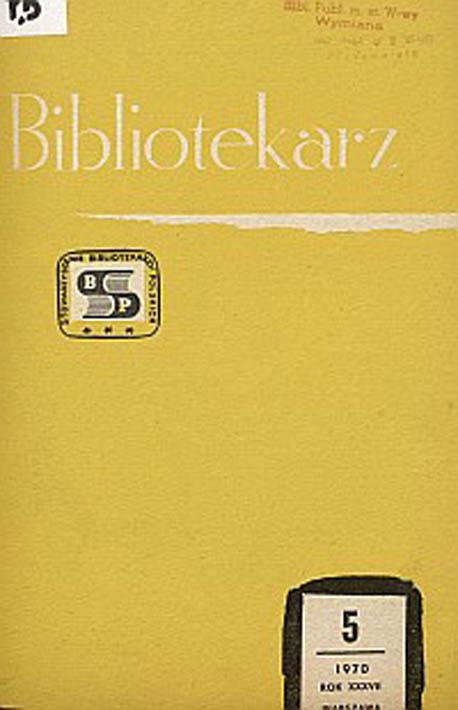 Okładka Bibliotekarz 1970, nr 5