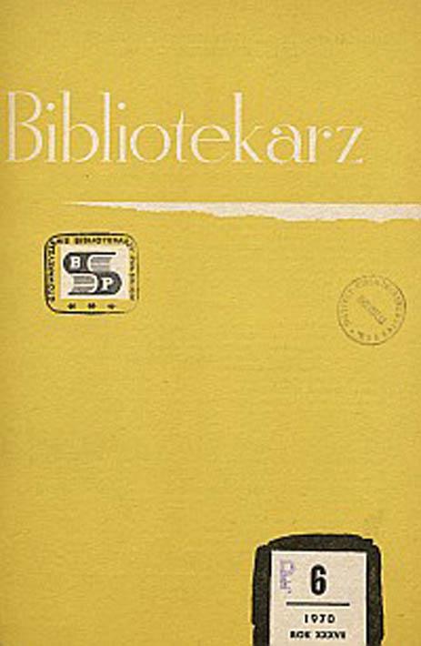 Okładka Bibliotekarz 1970, nr 6