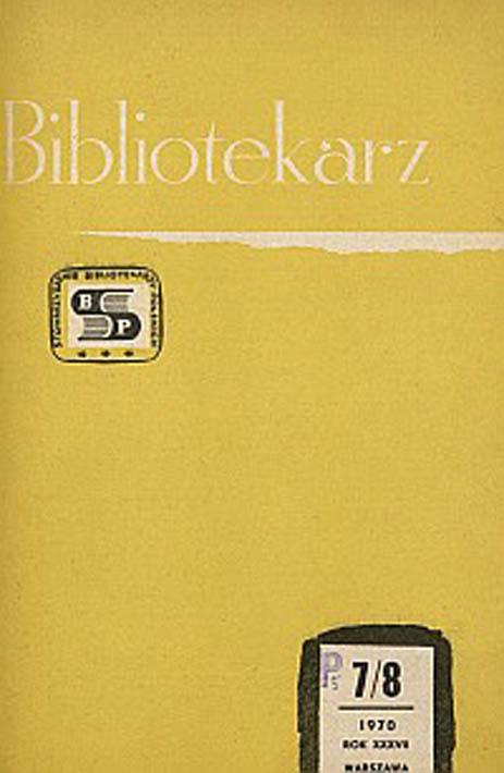 Okładka Bibliotekarz 1970, nr 7-8