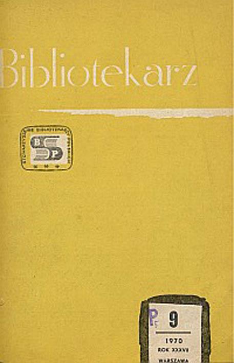 Okładka Bibliotekarz 1970, nr 9