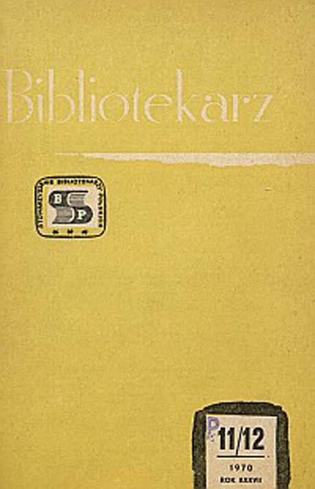 Okładka Bibliotekarz 1970, nr 11-12