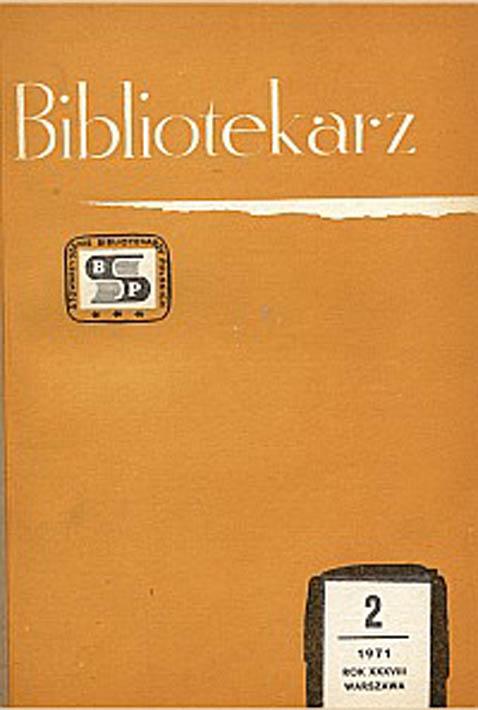 Okładka Bibliotekarz 1971, nr 2