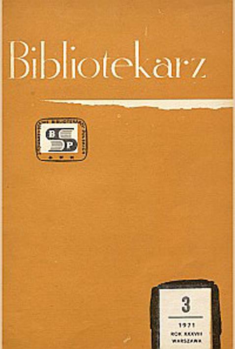 Okładka Bibliotekarz 1971, nr 3