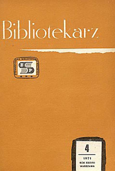 Okładka Bibliotekarz 1971, nr 4