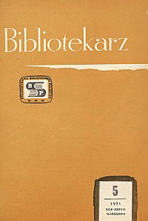 Okładka Bibliotekarz 1971, nr 5