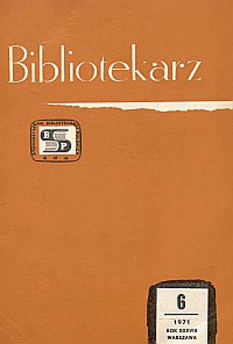 Okładka Bibliotekarz 1971, nr 6