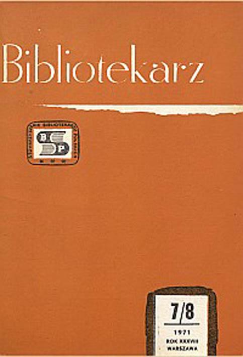 Okładka Bibliotekarz 1971, nr 7-8