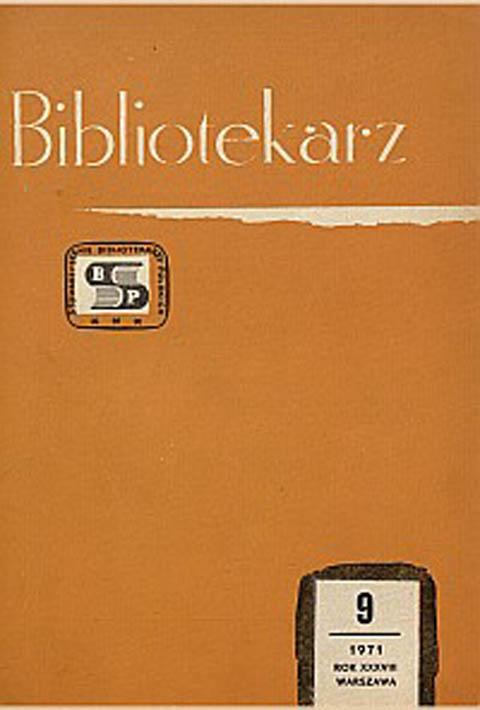 Okładka Bibliotekarz 1971, nr 9