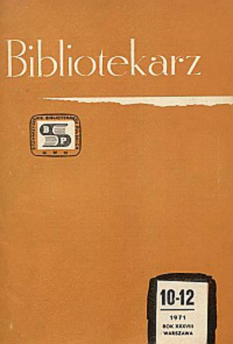 Okładka Bibliotekarz 1971, nr 10-12