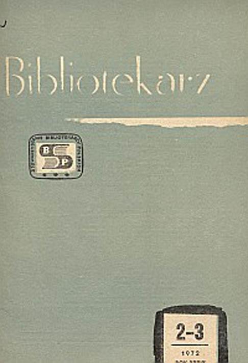 Okładka Bibliotekarz 1972, nr 2-3