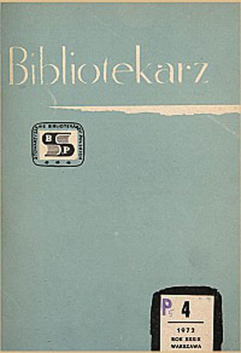Okładka Bibliotekarz 1972, nr 4