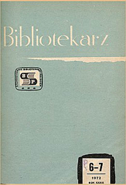 Okładka Bibliotekarz 1972, nr 6-7